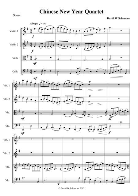 Chinese new year celebration for string quartet