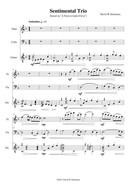 Sentimental Trio for flute, cello and guitar