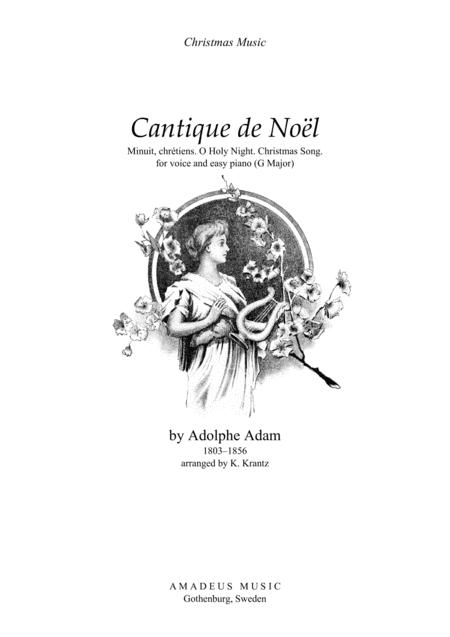 O Holy Night / Cantique de noel for voice and easy piano (G Major)