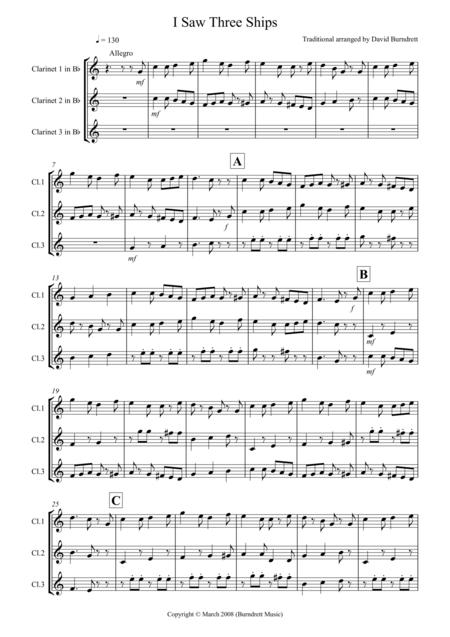 I Saw Three Ships for Clarinet Trio