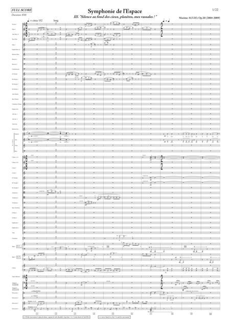 Symphonie de l Espace (Symphony of Space) - 3.Silence au fond des cieux, planetes, mes vassales! - SCORE