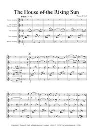 The house of the rising sun - Saxophone Quartet SATB