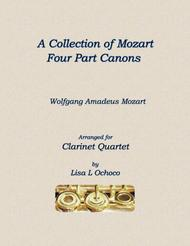 A Collection of Mozart Four Part Canons for Clarinet Quartet