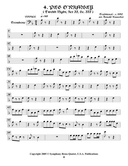 Shakespearean Music for Brass Quintet - 4. Peg o'Ramsey - Twelfth Night (Trombone)
