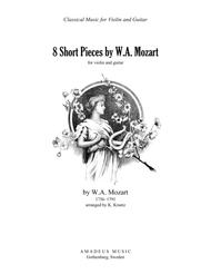 8 short pieces by W.A. Mozart arranged for violin and guitar