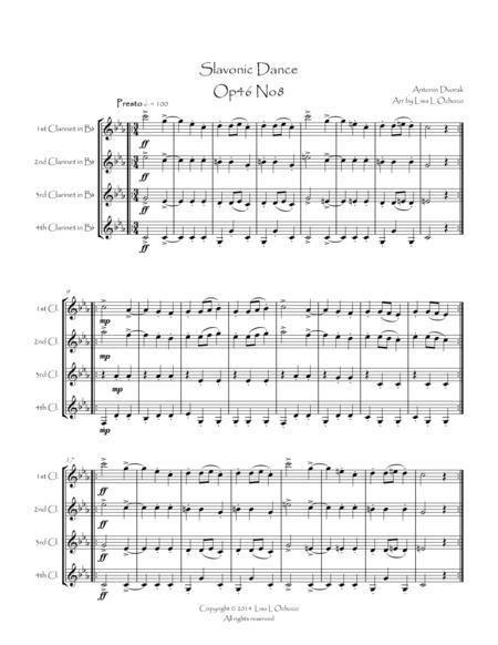 Slavonic Dance Op46 No8 for Clarinet Quartet