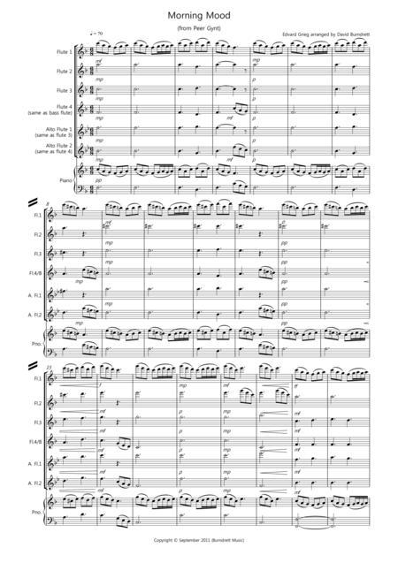 Morning Mood (from Peer Gynt) for Flute Quartet