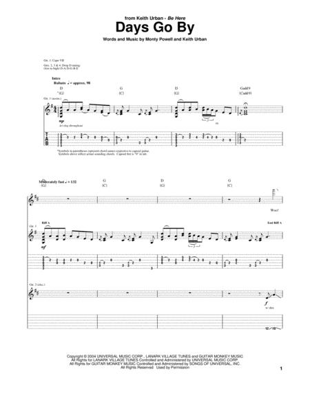 Keith Urban Days Go By Sheet Music