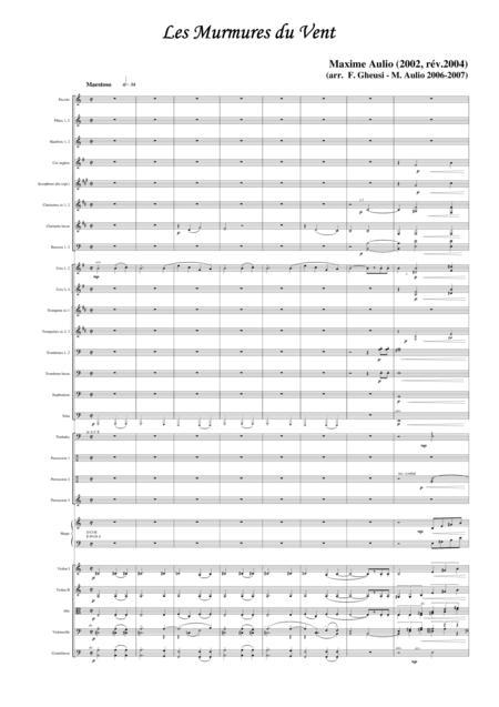 Les murmures du vent (Whispering Wind), transcription for symphonic orchestra - score