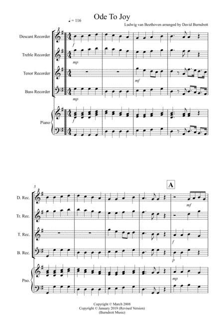 Ode To Joy for Recorder Quartet