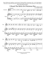 Christmas Duets for Recorder & Piano:  I Heard the Bells on Christmas Day