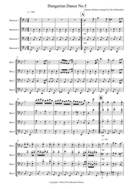 Hungarian Dance for Bassoon Quartet