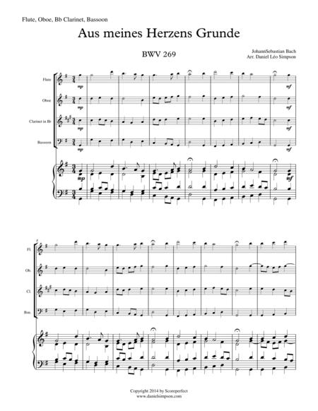 Bach: Chorale Prelude 001 - Aus meines Herzens Grunde BWV 269 for Flute, Oboe Bb Clarinet and Bassoon
