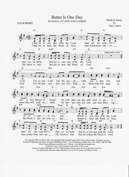 Download BETTER IS ONE DAY (Lead Sheet With Mel, Lyrics And Chords ...