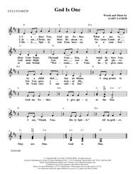 GOD IS ONE (Lead Sheet with mel, lyrics and chords)