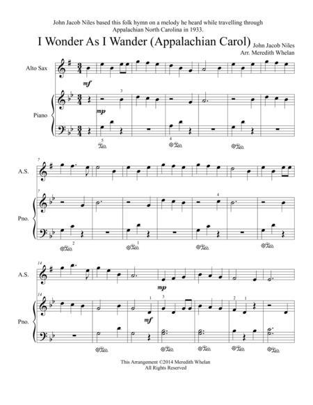 Christmas Duets for Alto Saxophone & Piano:  I Wonder As I Wander (Appalachian Carol)