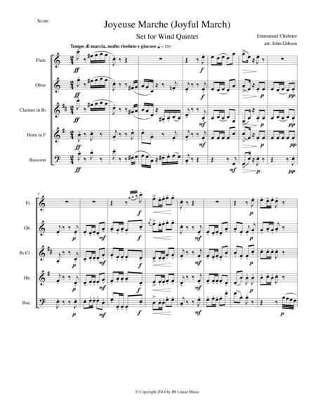 Joyful March set for woodwind quintet (Chabrier - Joyeuse Marche)