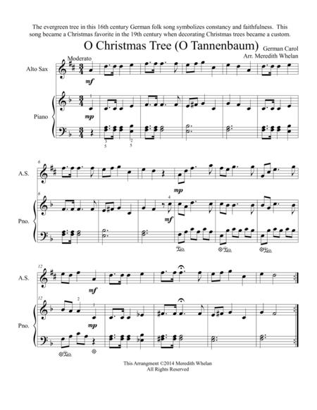 O Christmas Tree In German.Download Chirstmas Duets For Alto Saxophone Piano O