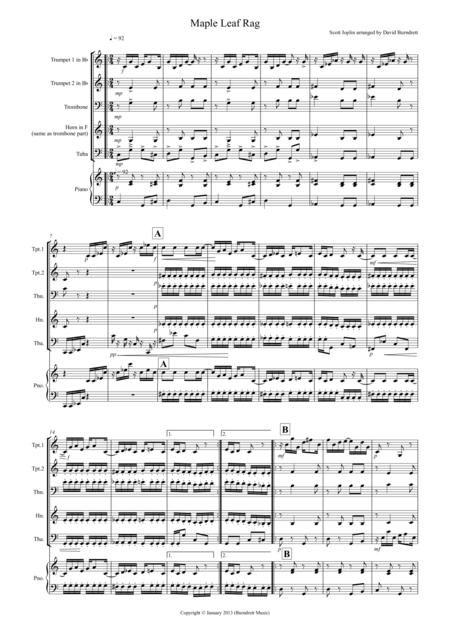 Maple Leaf Rag for Brass Quartet