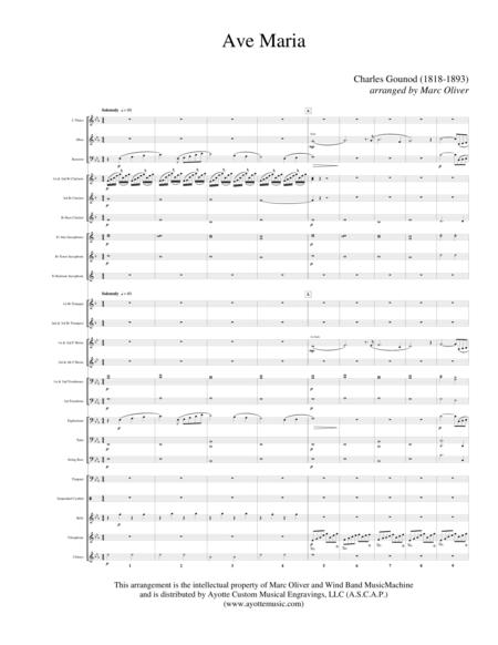 Ave Maria (Bach - Gounod) for Concert Band - Band Set with Full Score and Parts