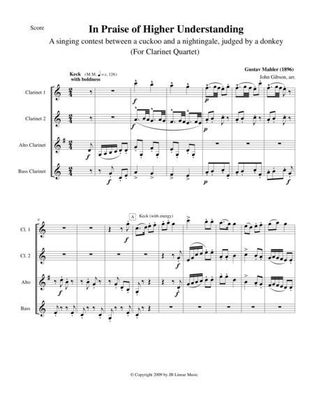 Mahler - In Search of Higher Understanding set for Clarinet Quartet