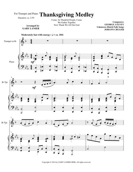 THANKSGIVING MEDLEY (Bb Trumpet/Piano with Trumpet Part)