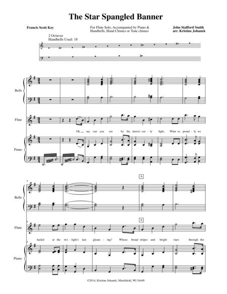 The Star Spangled Banner Flute And Bells By John Stafford Smith Digital Sheet Music For Piano Flute Handbell Download Print S0 23437 From Kristine Johanek Self Published At Sheet Music Plus