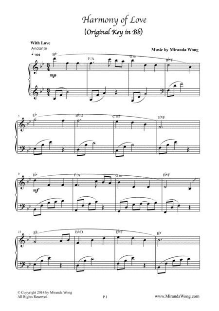 Harmony of Love in Bb Key - Romantic Piano Solo