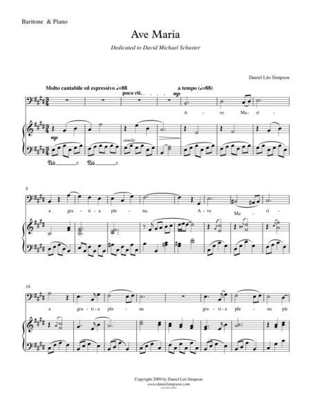 Ave Maria for Baritone Vocal & Piano