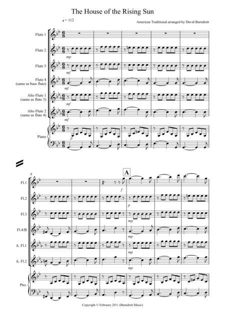 House of the Rising Sun for Flute Quartet