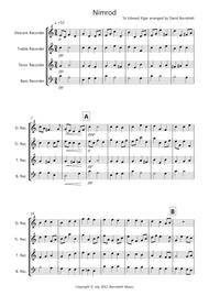 Nimrod (from the Enigma Variations) for Recorder Quartet