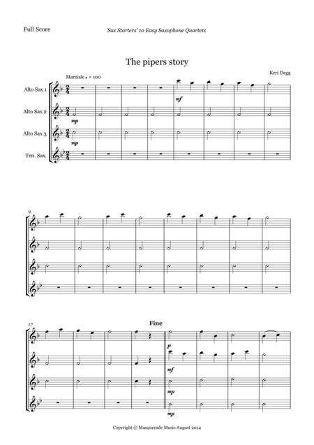 Sax Starters; 10 Easy AAAT Sax Quartets for adult learners (includes optional Bb sop/Clarinet part)