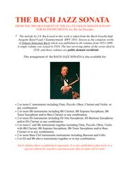 THE BACH JAZZ SONATA FROM THE 3RD MOVEMENT OF THE FLUTE/VIOLIN SONATA II IN Eb* FOR Eb INSTRUMENTS Arr. By Joe Procopio