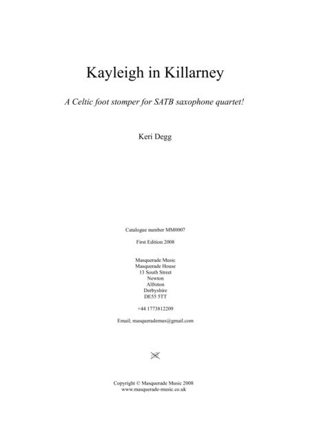 Kayleigh in Killarney SATB Saxophone Quartet (with optional Alto 2 / Tenor 2 Quintet part)