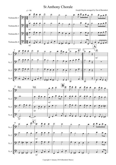 St Anthony Chorale for Cello Quartet