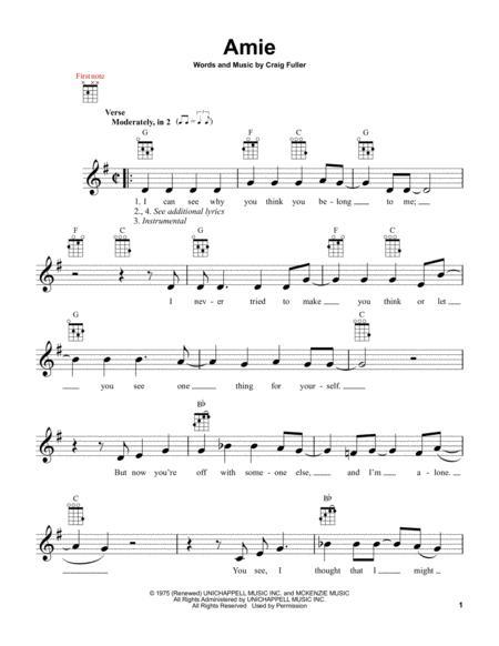 Download Amie Sheet Music By Pure Prairie League Sheet Music Plus