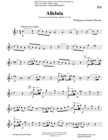 Alleluia from Exsultate, Jubilate K. 165 for String Trio (or Wind Trio)