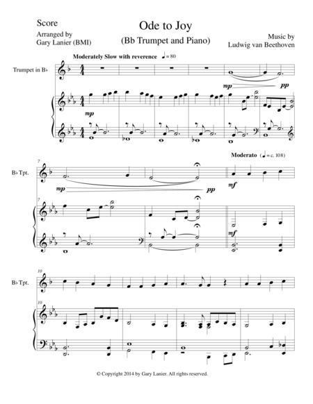 Download ODE TO JOY (Bb Trumpet Piano And Trumpet Part