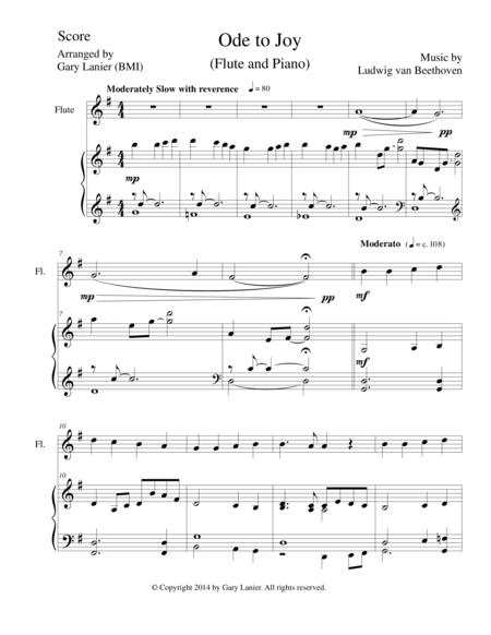 ODE TO JOY (Duet - Flute & Piano with Score/Part)