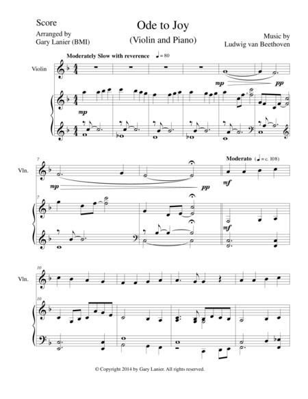 ODE TO JOY (Violin Piano and Violin Part) Joyful, Joyful, We Adore Thee