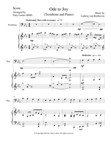 ODE TO JOY (Trombone Piano and Trombone Part) Joyful, Joyful, We Adore Thee
