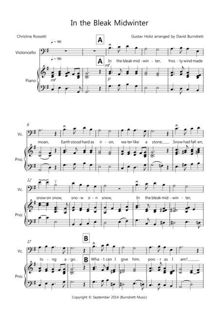Download In The Bleak Midwinter For Cello And Piano Sheet Music By