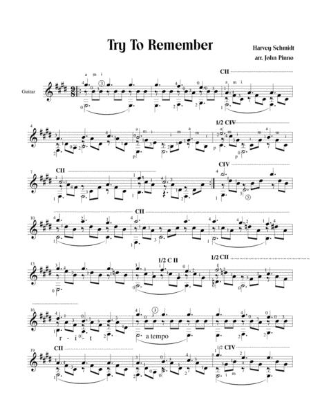 Try To Remember (solo classical guitar)