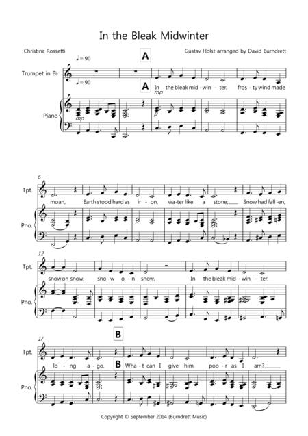 Download In The Bleak Midwinter For Trumpet And Piano Sheet Music By