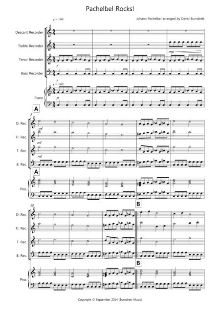 Pachelbel Rocks! for Recorder Quartet
