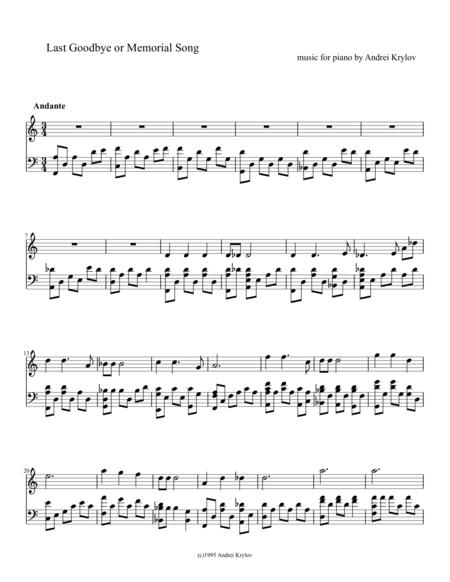 Last Goodbye or Memorial Song, music for piano by Andrei Krylov