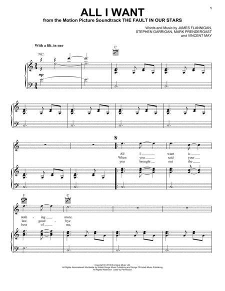 Download All I Want Sheet Music By Kodaline Sheet Music Plus