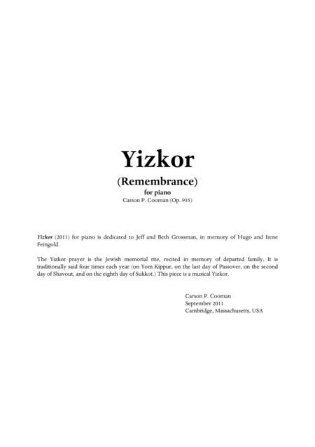 Carson Cooman - Yizkor for piano