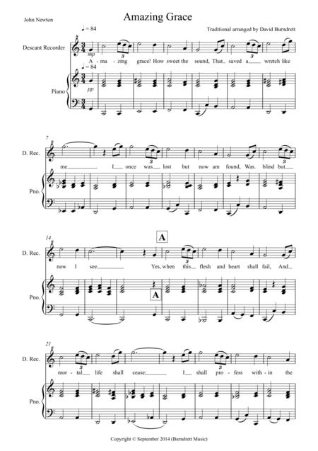 Amazing Grace for Descant Recorder and Piano
