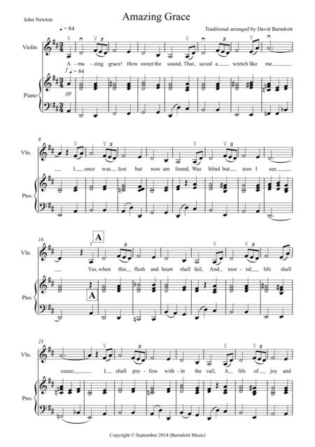 Amazing Grace for Violin and Piano